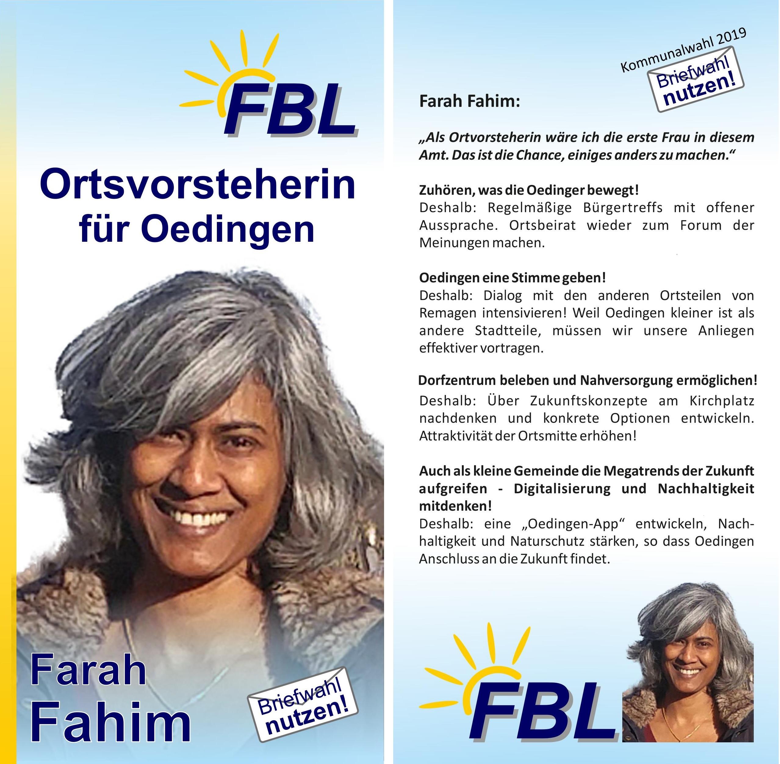Alternativen für Oedingen! FBL-Kandidatin Farah Fahim stellt sich vor und skizziert die Zukunft des Remagener Stadtteils.